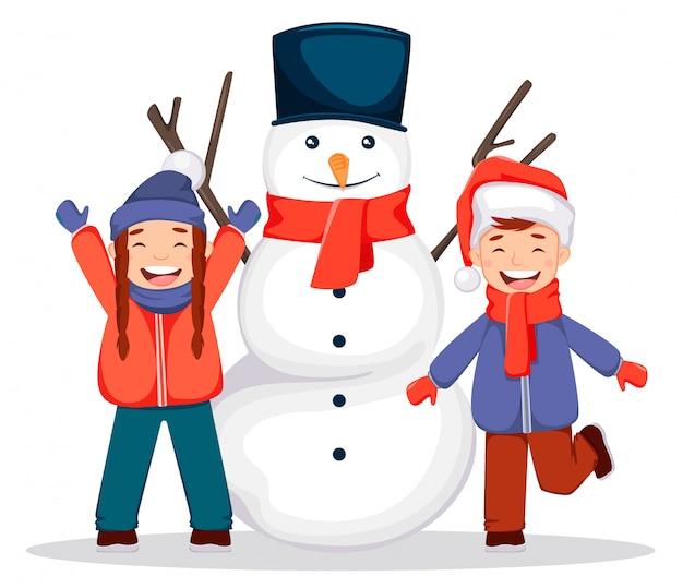 Vrolijk kerstfeest. sneeuwpop en kinderen