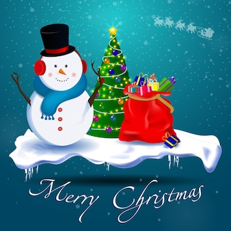 Vrolijk kerstfeest! sneeuwpop, kerstboom, een zak cadeaus op een besneeuwde staande ondergrond. het sneeuwt.