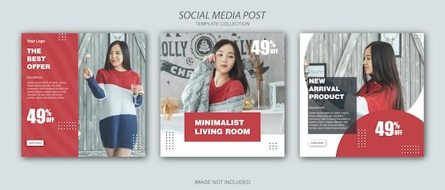Vrolijk kerstfeest social media postsjabloon