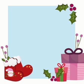Vrolijk kerstfeest, sokken geschenkdozen wenskaart ontwerp illustratie