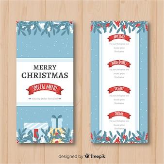 Vrolijk kerstfeest speciale menusjabloon