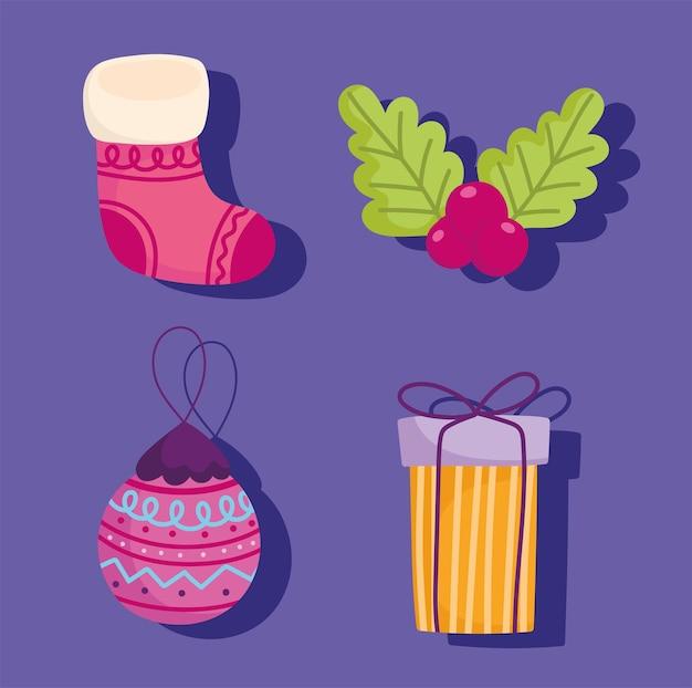 Vrolijk kerstfeest, stel pictogrammen cadeau bal sok en holly berry vectorillustratie