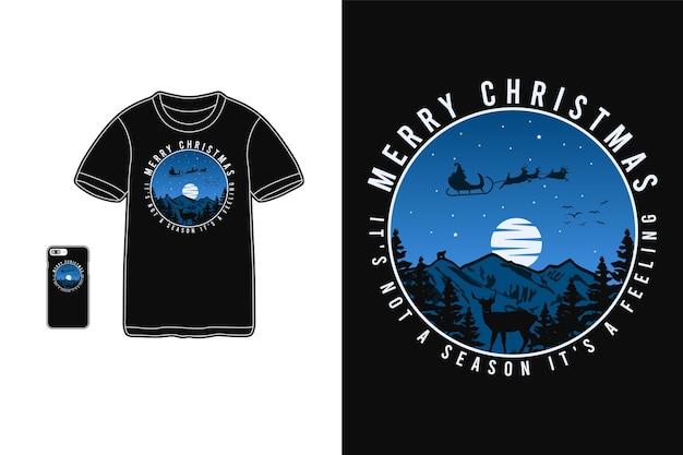 Vrolijk kerstfeest, t-shirt design silhouet retro stijl