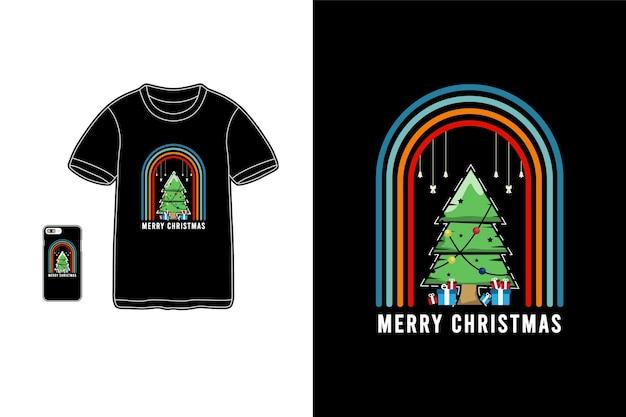 Vrolijk kerstfeest t-shirt koopwaar cipresboom mockup