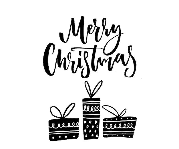 Vrolijk kerstfeest tekst. borstel kalligrafie en boom handgetekende verpakte geschenkdozen. monochroom vectorontwerp.