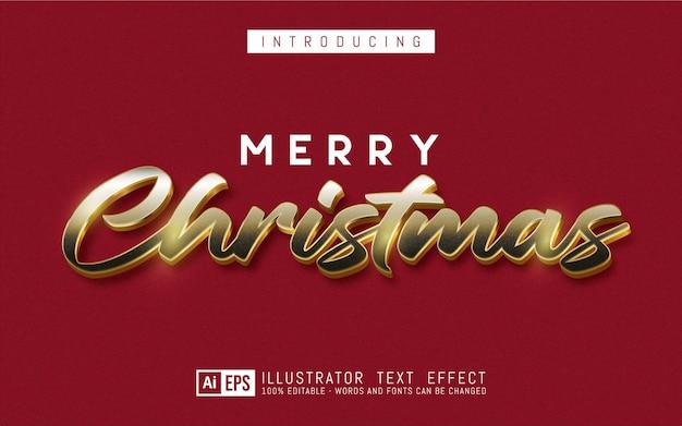 Vrolijk kerstfeest teksteffect bewerkbare 3d-tekststijl