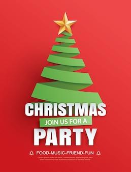 Vrolijk kerstfeest uitnodigingskaart boom symbool in papieren kunstsjabloon.