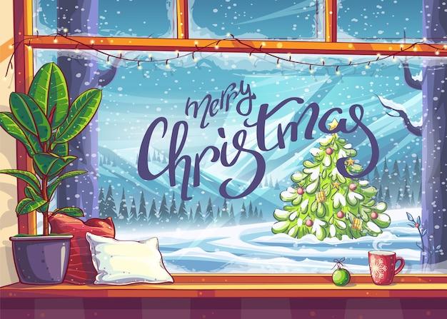 Vrolijk kerstfeest - uitzicht vanuit het raam. voor print on demand, advertenties en commercials, tijdschriften en kranten, boekomslagen.