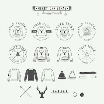 Vrolijk kerstfeest verkoop logo, embleem
