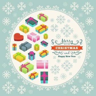 Vrolijk kerstfeest versieren ontwerp gemaakt van geschenkdozen en sneeuwvlokken
