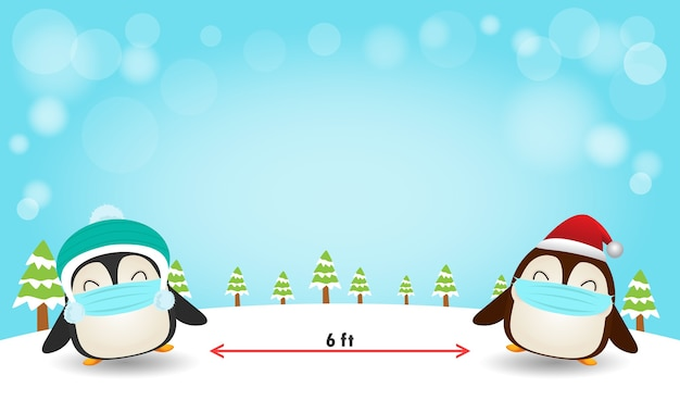 Vrolijk kerstfeest voor een nieuw normaal levensstijlconcept en sociaal afstand nemen