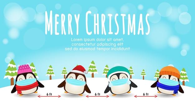 Vrolijk kerstfeest voor een nieuwe normale en sociale afstand