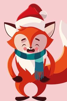 Vrolijk kerstfeest vos, winterseizoen en decoratiethema