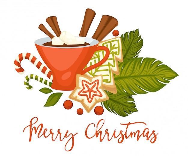 Vrolijk kerstfeest, warme drank met kaneel in mok