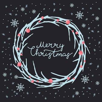 Vrolijk kerstfeest wenskaart. bevat naadloze patronen met vakantiethema. vector.
