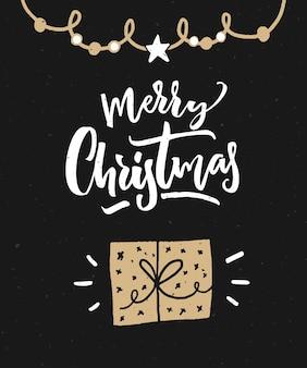 Vrolijk kerstfeest wenskaart. donkere zwarte achtergrond met kalligrafietekst en met de hand getekende geschenkdoos.