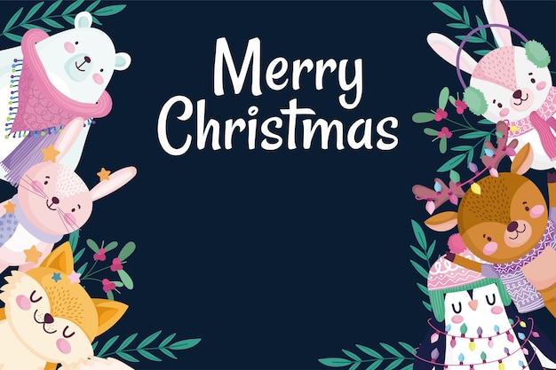Vrolijk kerstfeest, wenskaart konijn beer pinguïn herten en vos holly berry illustratie