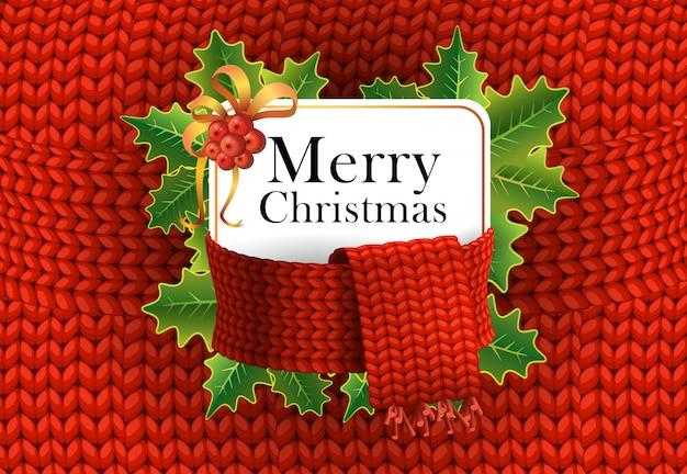 Vrolijk kerstfeest wenskaart ontwerp. maretakbessen