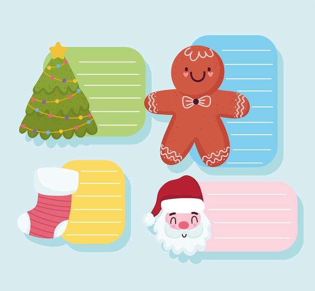 Vrolijk kerstfeest, wenskaarten met santa gember cookie sok en boom vectorillustratie
