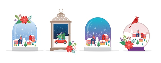 Vrolijk kerstfeest, winterwonderlandtaferelen in verzameling sneeuwbollen