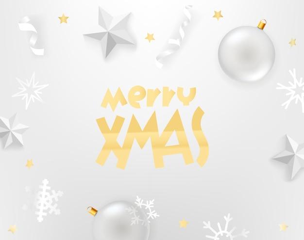 Vrolijk kerstfeest. witte achtergrond met witte accessoires.
