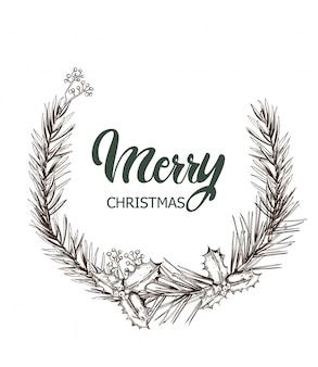 Vrolijk kerstfeest zwart-wit krans