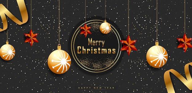 Vrolijk kerstfeest zwarte achtergrondbanner met gouden realistische decoratie-elementen premium vector
