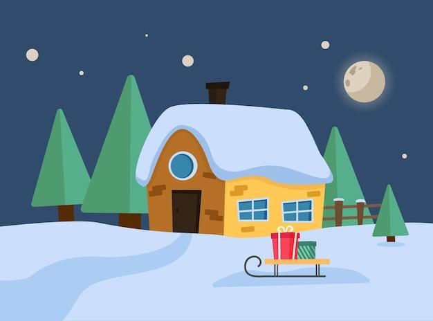 Vrolijk kersthuis met boom en geschenkdoos. cartoon winterlandschap. vector illustratie