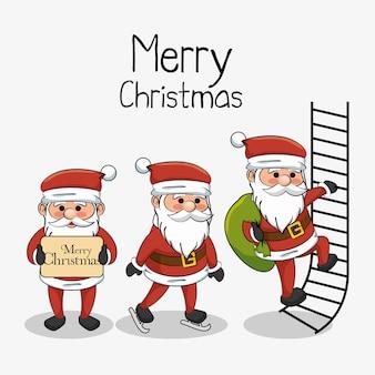 Vrolijk kerstkaart drie santa karakter