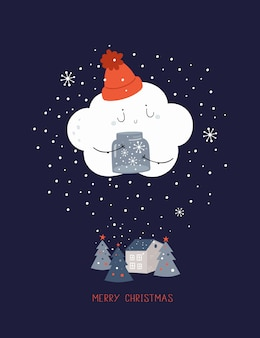 Vrolijk kerstkaart illustratie. gelukkig nieuwjaar 2020-poster