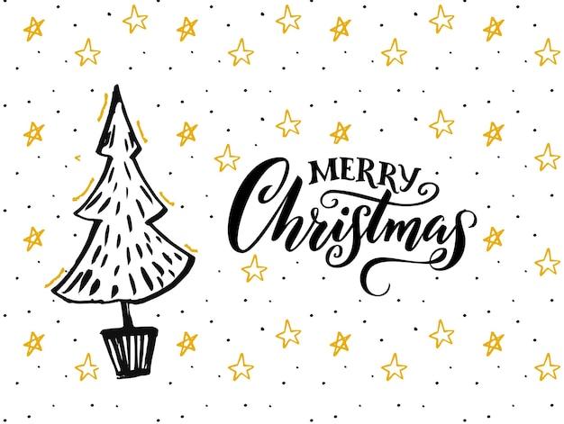 Vrolijk kerstkaartontwerp met handgetekende boom en kalligrafiebijschrift. witte achtergrond met gele sterren en zwarte tekst.