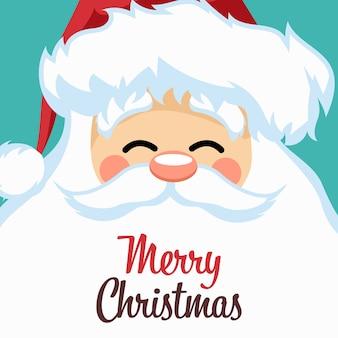 Vrolijk kerstkaartontwerp met het gezicht van de kerstman