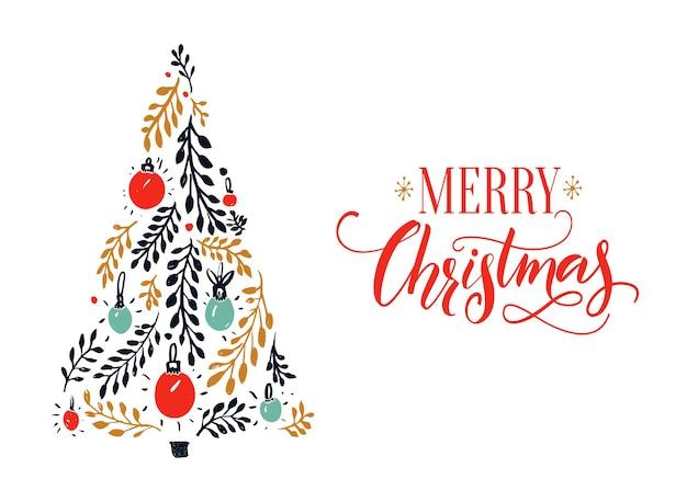 Vrolijk kerstkaartontwerp met rood kalligrafiebijschrift en met de hand getekende sparrenboom.