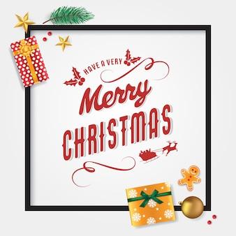 Vrolijk kerstkaartsjabloon met dennenbladeren, ster, peperkoekmannetje, cadeautjes, kerstbal en kerstbessen