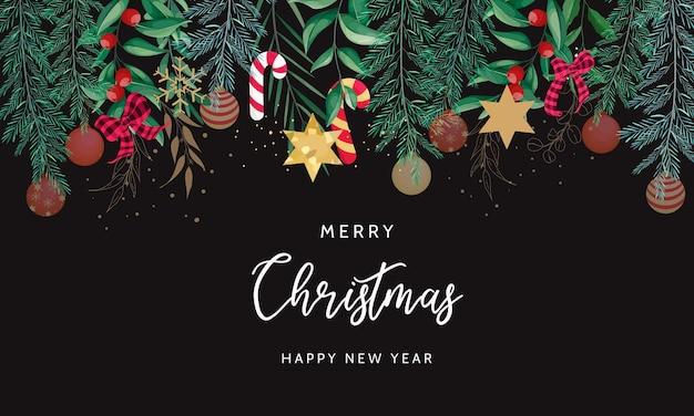 Vrolijk kerstmis achtergrondontwerp met mooie kerstversiering