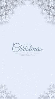 Vrolijk kerstmis decoratief ontwerp als achtergrond met wit origamidocument sneed sneeuwvlok