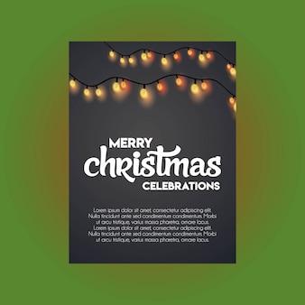 Vrolijk kerstmis gloeiend licht op zwarte achtergrond
