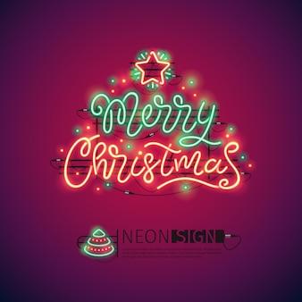 Vrolijk kerstmis kleurrijk neonteken