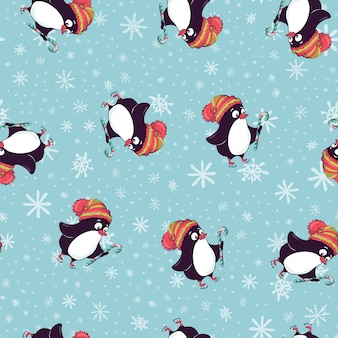 Vrolijk kerstmis naadloos patroon met pinguïnen, in vector.