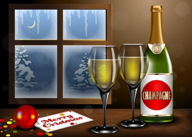 Vrolijk kerstmisbinnenland met champagne en glas op lijst