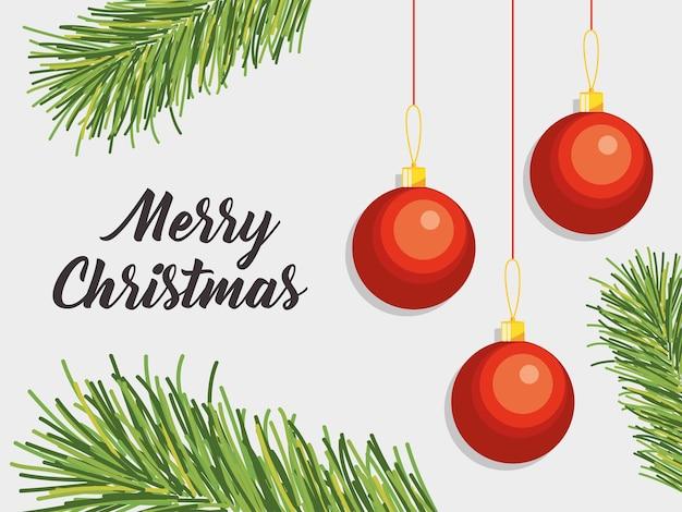 Vrolijk kerstmisontwerp met decoratieve bladeren en kerstmisballen die over grijze achtergrond hangen