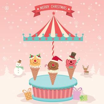 Vrolijk kerstmisroomijs gaat vrolijk rond