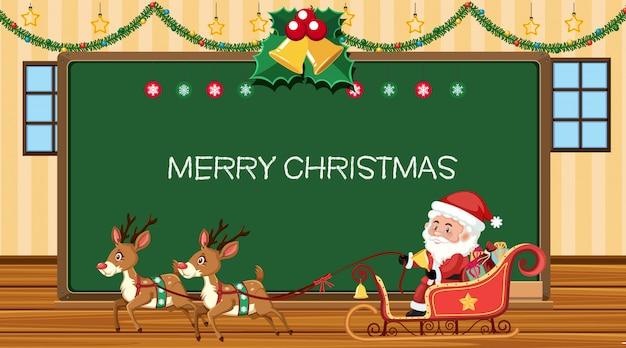 Vrolijk kerstmisteken met kerstman en rendieren