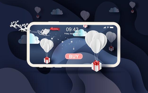 Vrolijk kerstmiswinterseizoen mobiel online winkelen