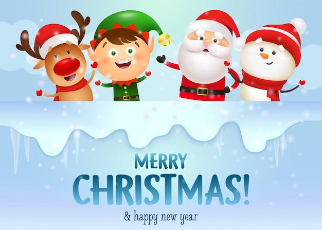 Vrolijk kerstontwerp met vrolijke kerstman en zijn vrienden