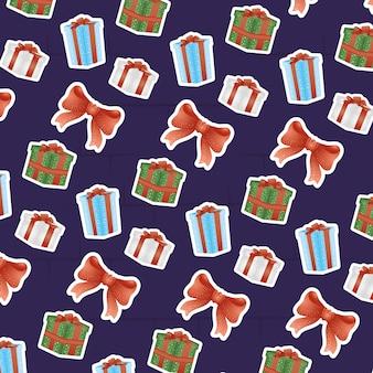 Vrolijk kersttafereel met geschenken en strikpatroon