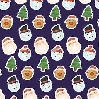 Vrolijk kersttafereel met hoofden personages patroon