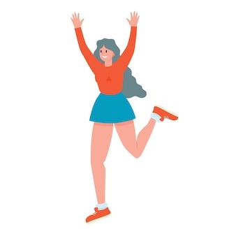 Vrolijk meisje vrolijke vrouw die vrolijk springt voorraad vectorillustratie van een gelukkig man op een witte
