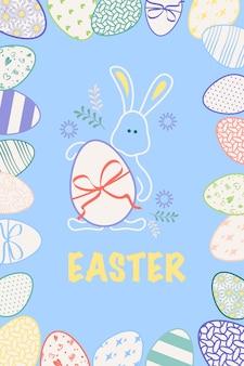 Vrolijk pasen ansichtkaarten feestelijke decoratie met lente elementen bloemen konijntje en eieren vector plat il...