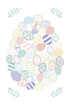 Vrolijk pasen ansichtkaarten. feestelijke decoratie met veerelementen en eieren. platte vectorillustratie